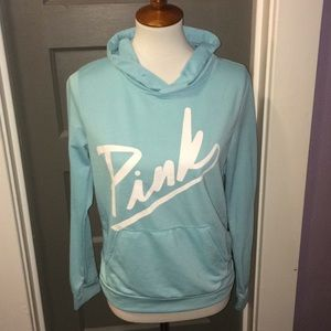 "Blue light weight hoodie with The word ""pink"""